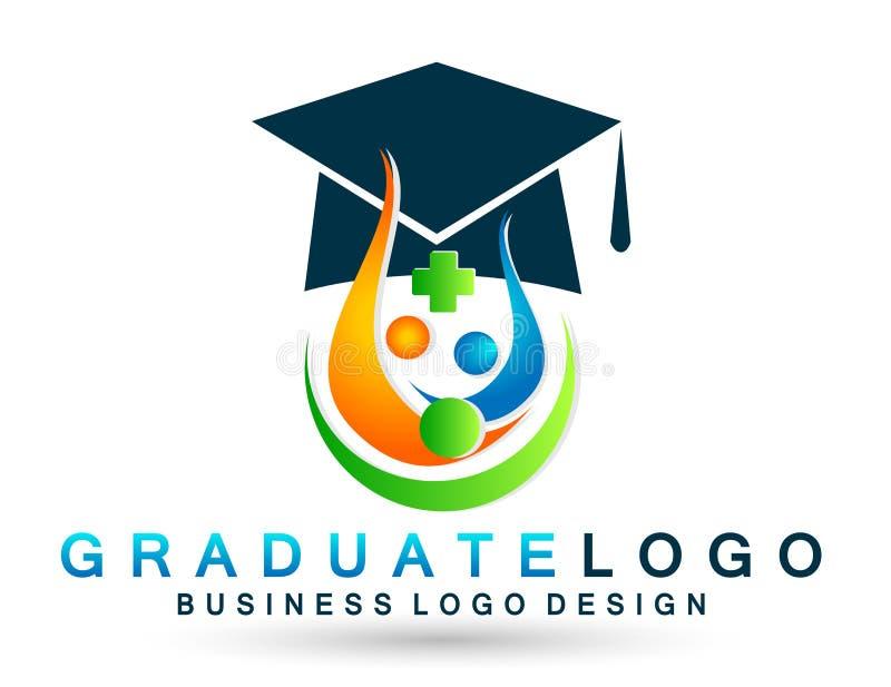 Beståndsdel för symbol för ungkarl för akademisk för hög utbildning för kandidater för studenter för logo avläggande av examen fö royaltyfri illustrationer
