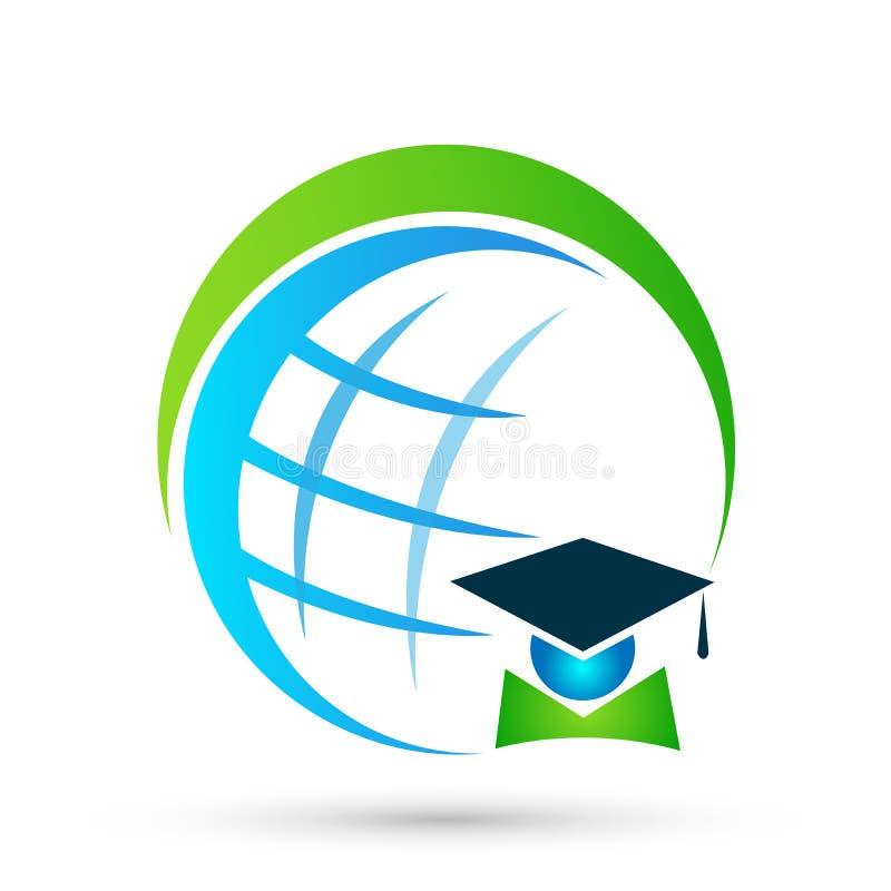 Beståndsdel för symbol för ungkarl för studenter för avläggande av examen för symbol för logo för värld för folk för jordklotutbi stock illustrationer