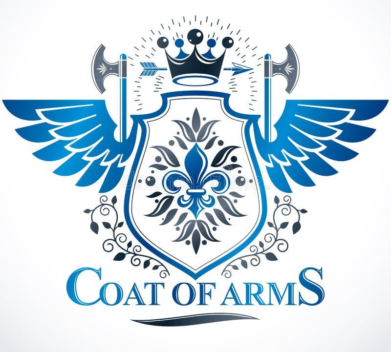 Beståndsdel för tappningvektordesign Retro stiletikett, heraldik stock illustrationer