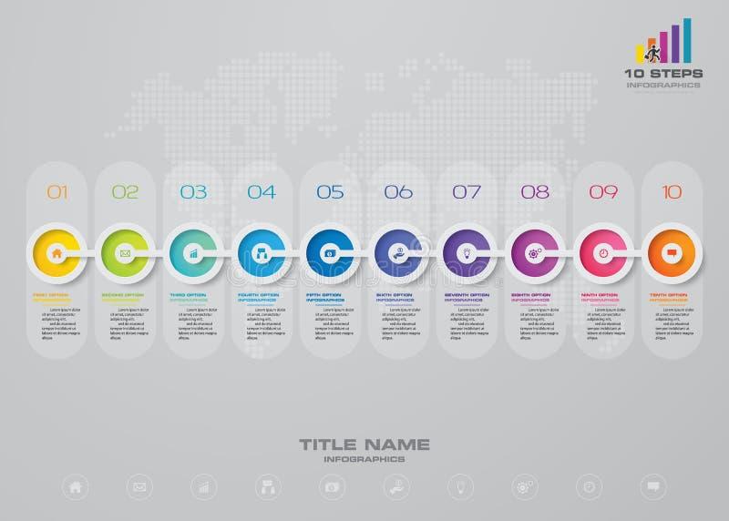 beståndsdel för Timeline för 10 moment infographic 10 eps stock illustrationer