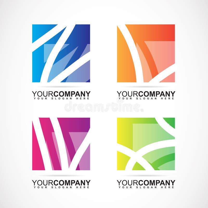 Beståndsdelar för abstrakt begrepp för företagslogofyrkant stock illustrationer