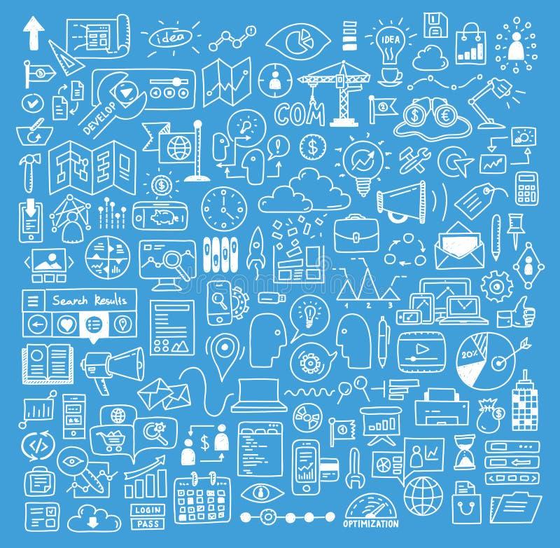 Beståndsdelar för affärs- och websiteutvecklingsklotter stock illustrationer