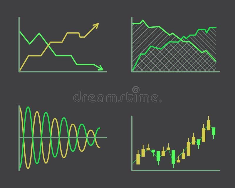 Beståndsdelar för analytics för graf för affärsdata bommar för cirkeldiagramdiagram och den plana isolerad presentation för symbo royaltyfri illustrationer