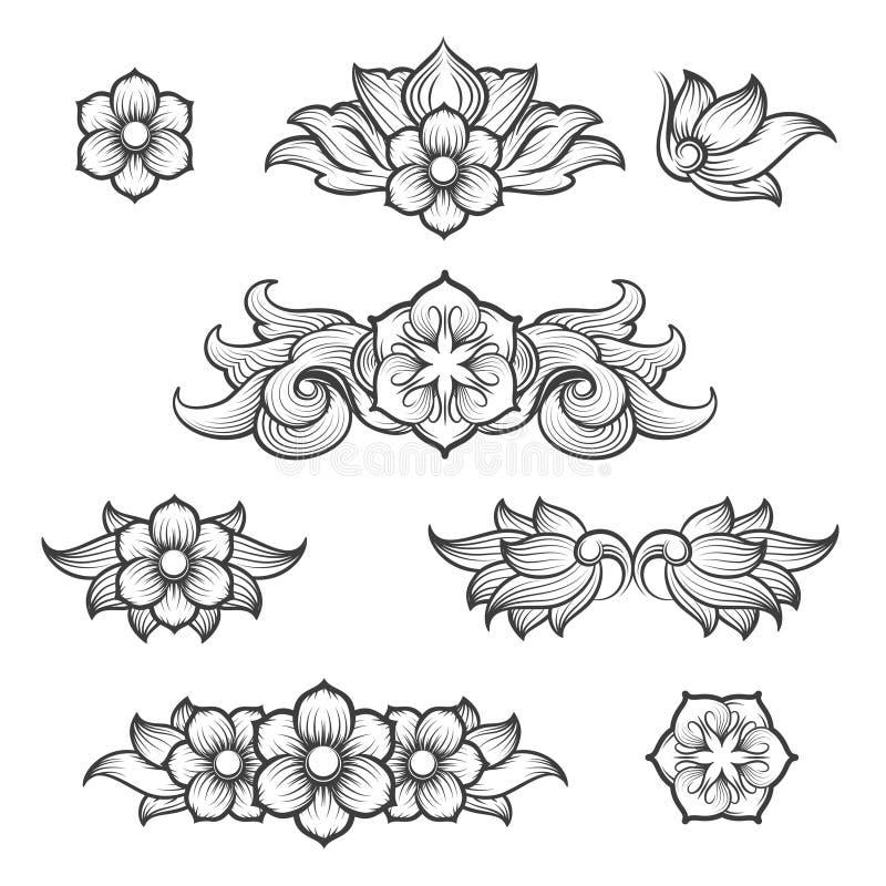Beståndsdelar för barock gravyr för tappning blom- vektor illustrationer