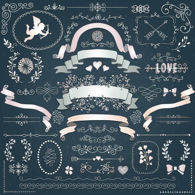 Beståndsdelar för blom- design för vektorvitbok dekorativa royaltyfri illustrationer