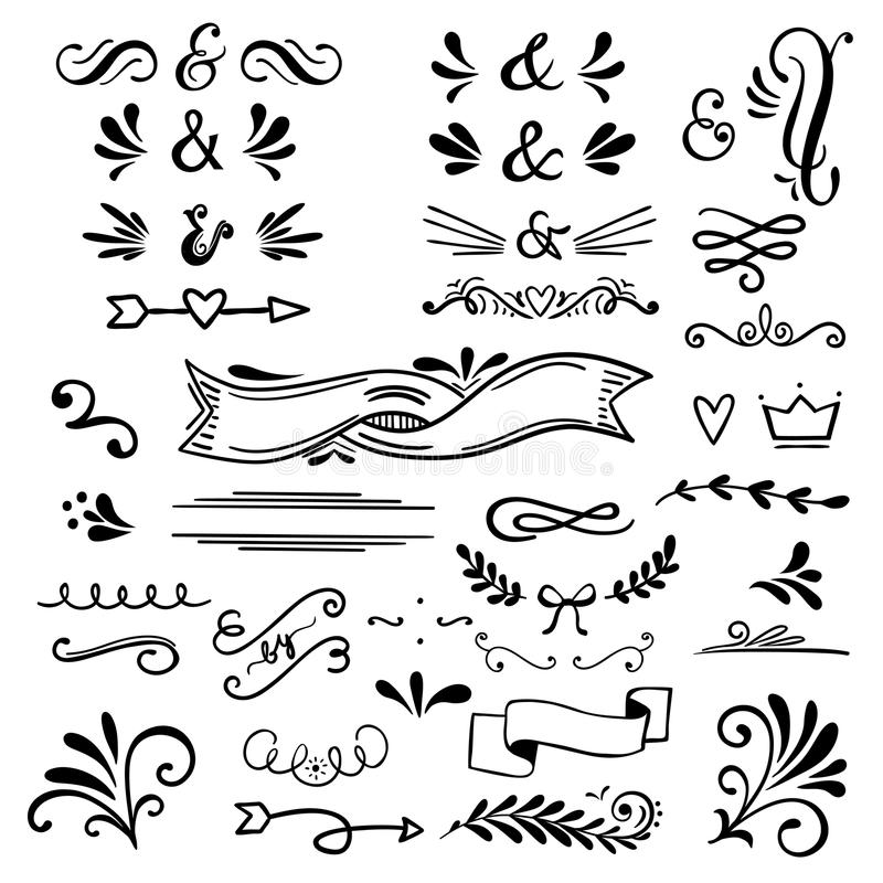 Beståndsdelar för blom- och grafisk design med et-tecken Vektoruppsättning av textavdelare för att märka royaltyfri illustrationer