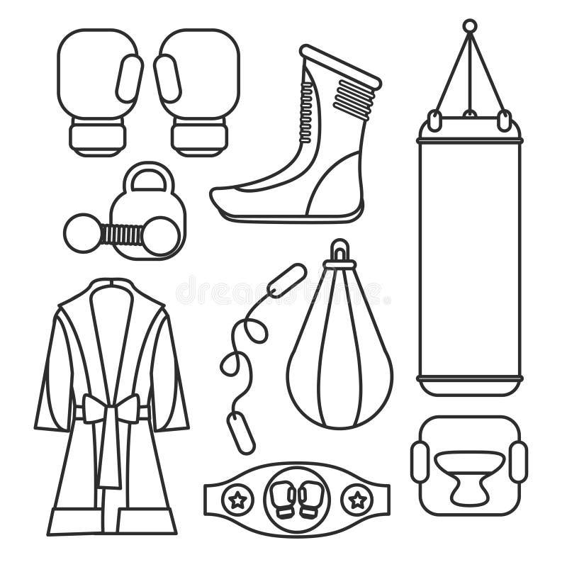 Beståndsdelar för boxningvektordesign Stridighet- och boxningutrustning Bo royaltyfri illustrationer