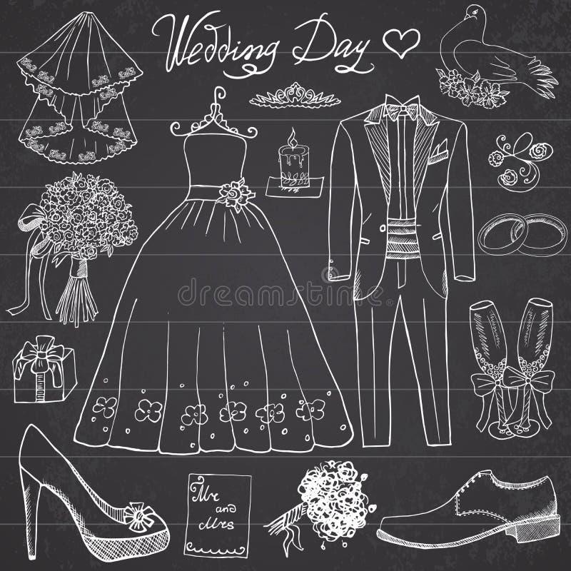 Beståndsdelar för bröllopdag Handen drog uppsättningen med klänningen för blommastearinljusbruden och smokingen passar, skor, stock illustrationer