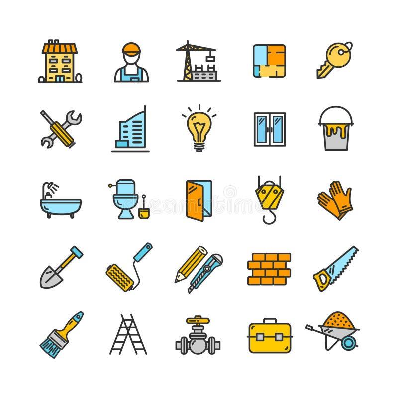 Beståndsdelar för byggnadskonstruktion och tunn linje symbolsuppsättning för hjälpmedelfärg vektor royaltyfri illustrationer