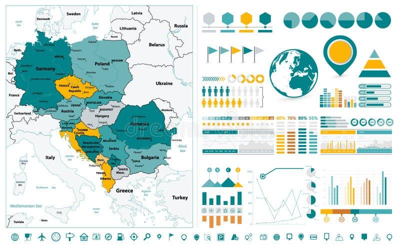 Beståndsdelar för Centraleuropa översikts- och Infographic design På white royaltyfri illustrationer