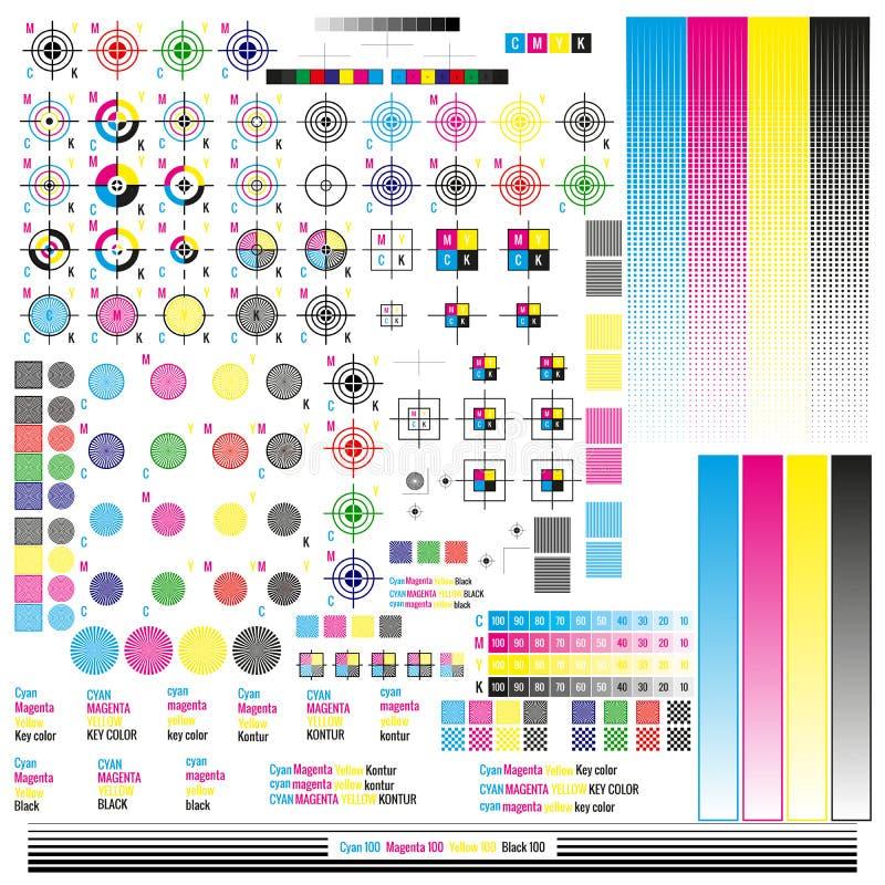 Beståndsdelar för CMYK-färgledning Publicerande hjälpmedel för grafiskt symbol Pressfläck Kalibreringen klipp markerar 10 eps vektor illustrationer