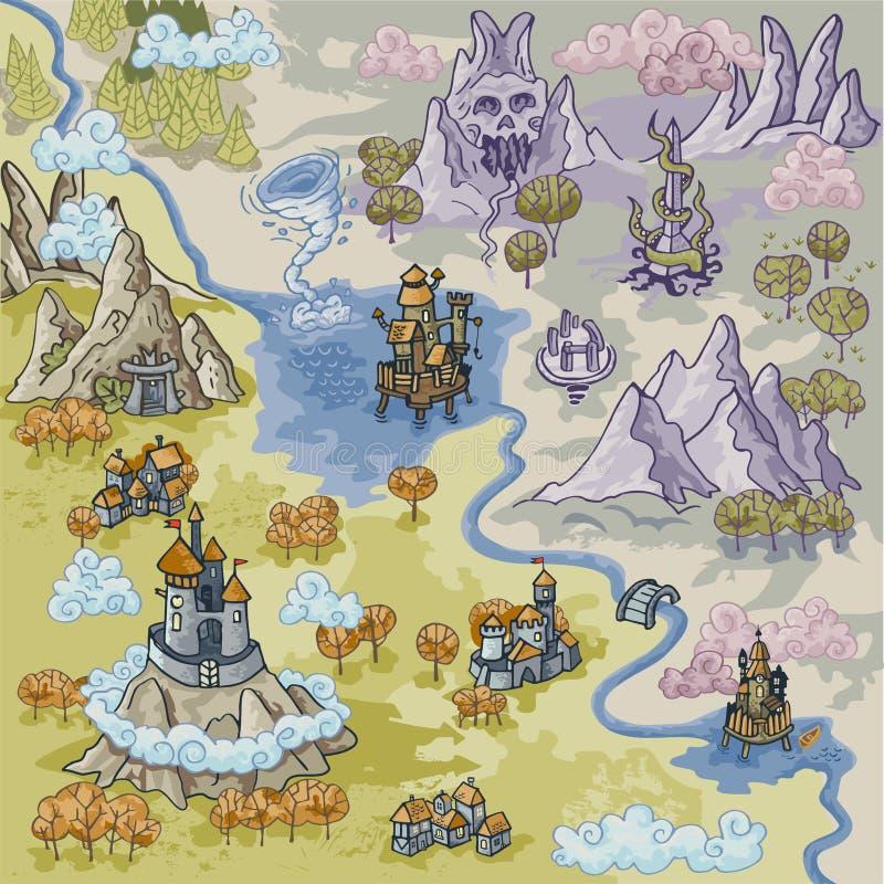 Beståndsdelar för den fantasiAdvernture översikten med den färgrika klotterhanden drar i illustrationen - map3 vektor illustrationer