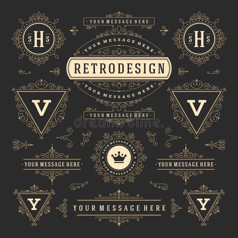 Beståndsdelar för design för garneringar för tappningvektorprydnader Frodas Retro logoer för calligraphic kombinationer vektor illustrationer