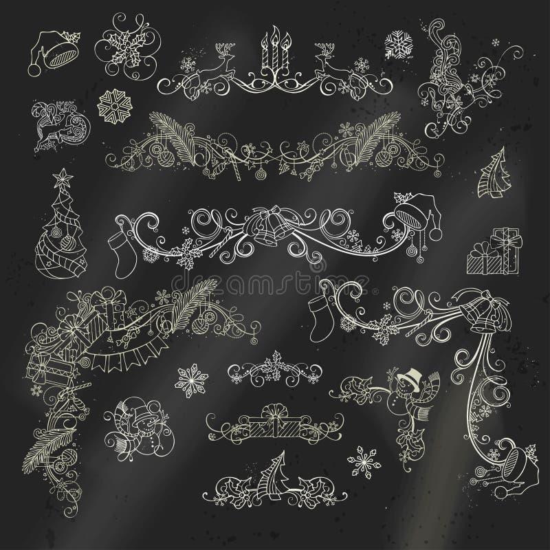 Beståndsdelar för design för kritajul calligraphic på svart tavlabakgrund vektor illustrationer