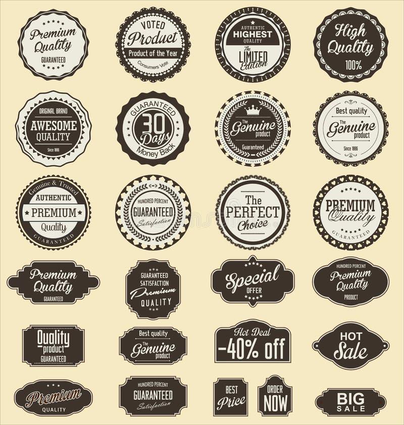 Beståndsdelar för design för samling för tappningförsäljningsetiketter, högvärdig kvalitet royaltyfri illustrationer