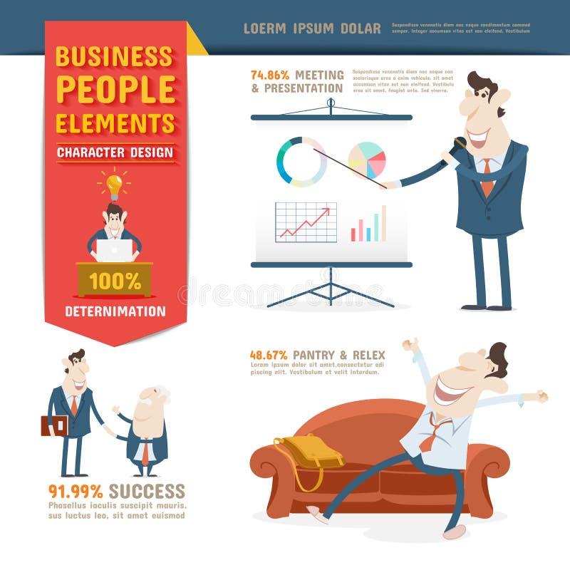 Beståndsdelar för design för tecken för affärsfolk royaltyfri illustrationer