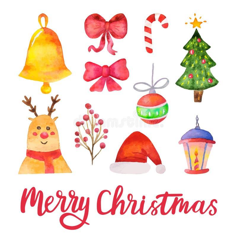 Beståndsdelar för design för glad jul för vattenfärgvektor Hand dragen traditionell uppsättning för ferie också vektor för coreld royaltyfri illustrationer