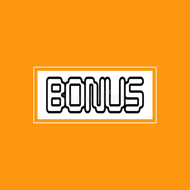 Beståndsdelar för design för logo för emblem för klistermärke för symbol för bakgrund för bonusbokstäver orange royaltyfri illustrationer