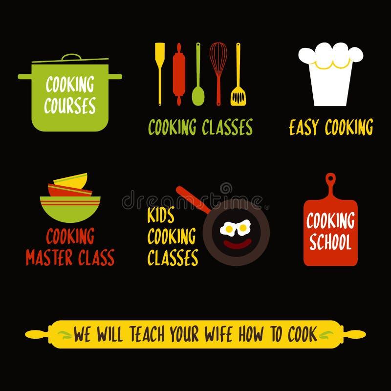 Beståndsdelar för design för matlagninggrupp, färgrika kökemblem, symboler, symboler, matstudioetiketter, emblemsamling Affär royaltyfri illustrationer