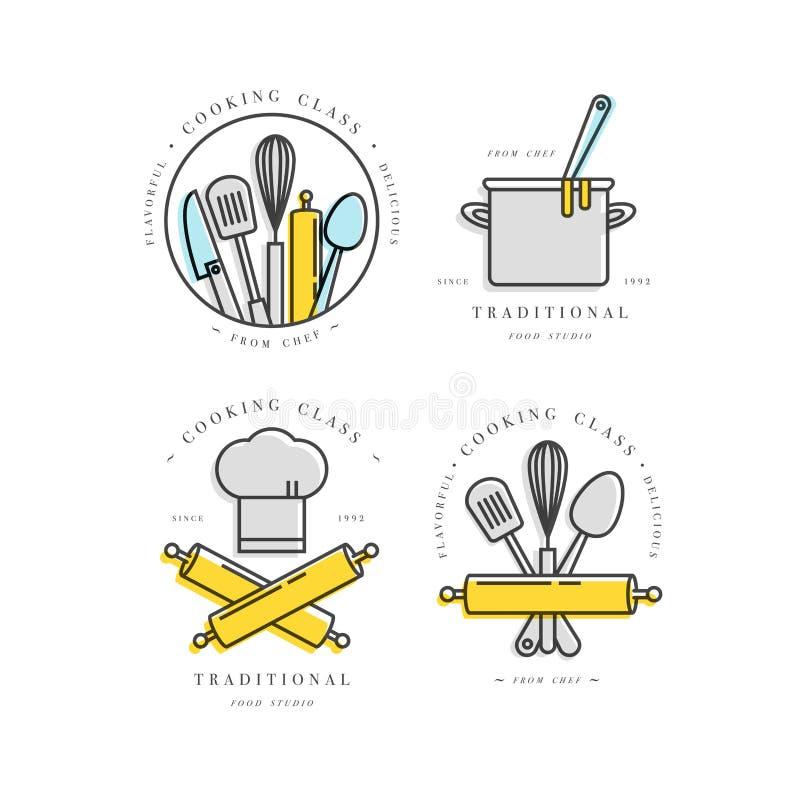Beståndsdelar för design för matlagninggrupp linjär, kökemblem, symboler, symboler eller matstudioetiketter och emblemsamling vektor illustrationer
