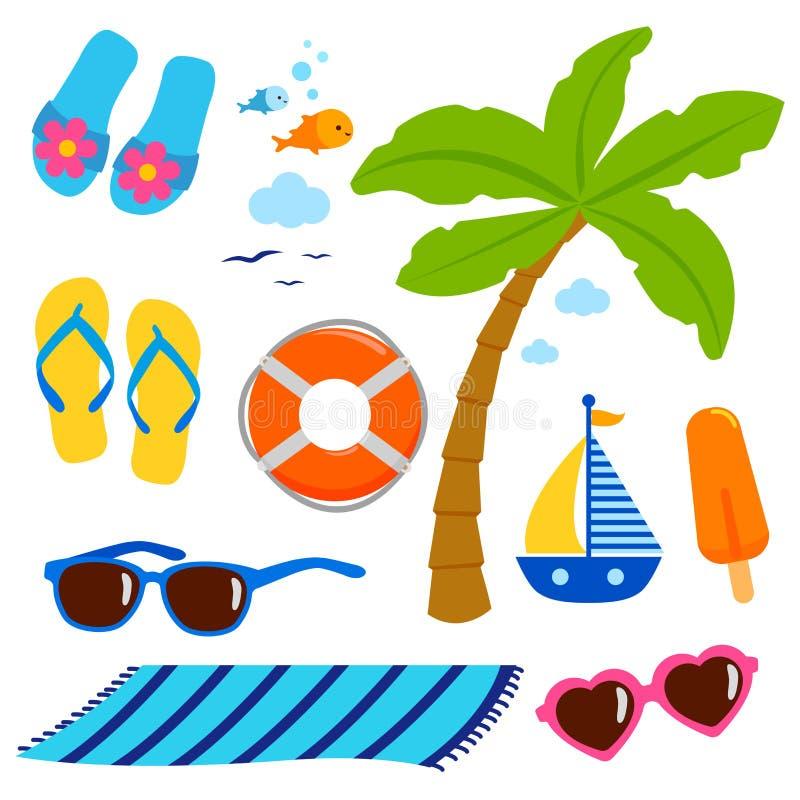 Beståndsdelar för design för semester för sommartemastrand stock illustrationer