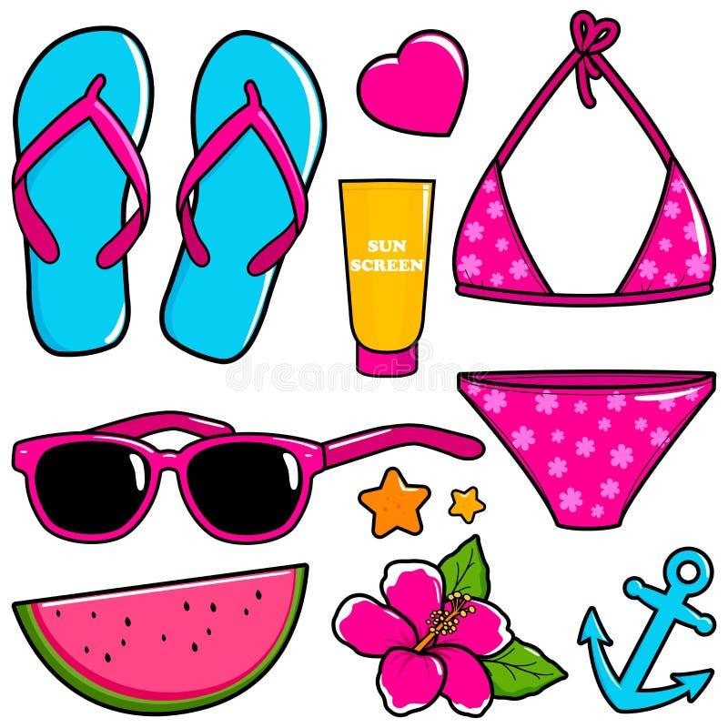 Beståndsdelar för design för semester för sommartemastrand vektor illustrationer