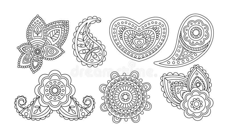 Beståndsdelar för eleganstappningdesign, den utdragna mandalaen för den blom- handen stiliserade prydnadvektorillustrationen stock illustrationer