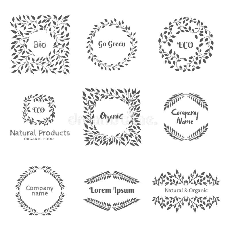 Beståndsdelar för emblem eller etikett vektor illustrationer