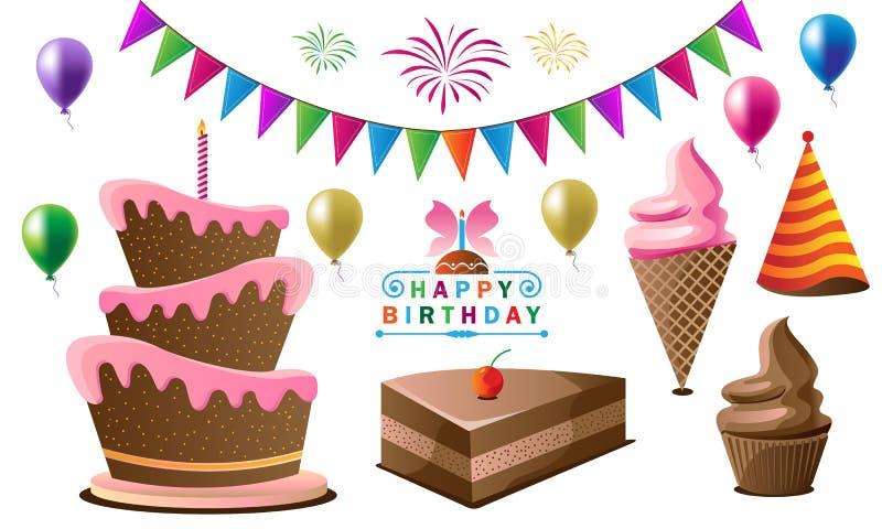 Beståndsdelar för födelsedagparti för beröm vektor illustrationer