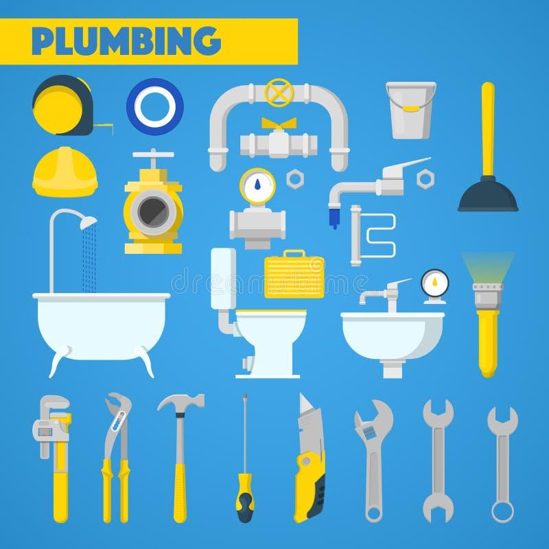 Beståndsdelar för för rörmokerihjälpmedeluppsättning och badrum stock illustrationer