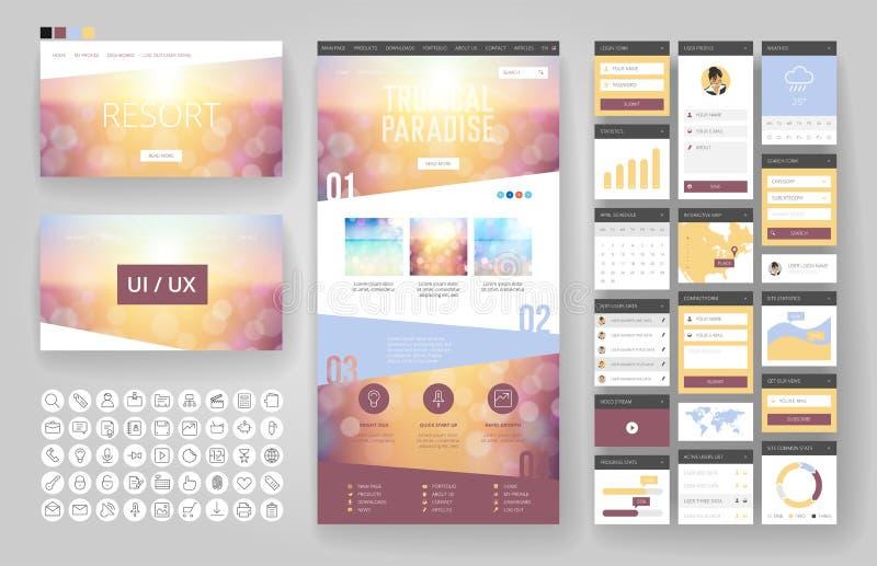 Beståndsdelar för för Websitedesignmall och manöverenhet royaltyfri illustrationer