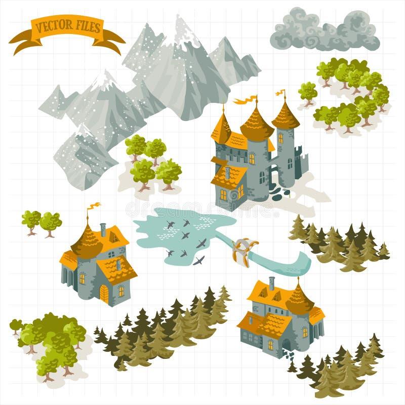 Beståndsdelar för fantasiaffärsföretagöversikt och den färgrika klotterhanden drar i illustrationen som isoleras på vit bakgrund stock illustrationer