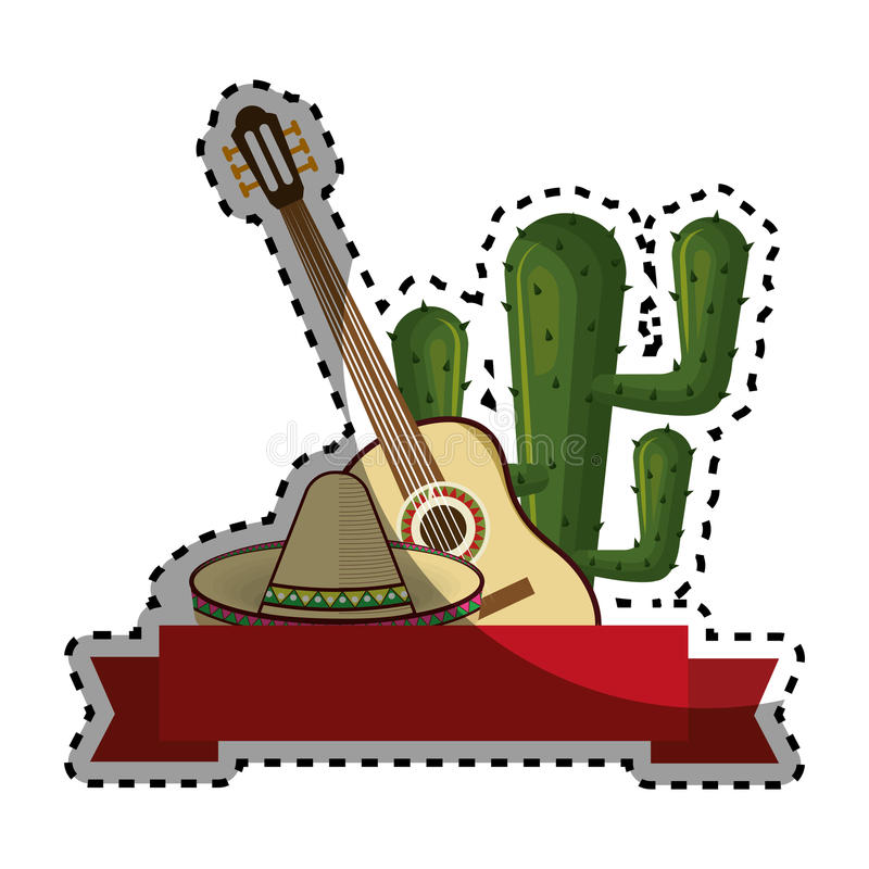 Beståndsdelar för fastställd samling för klistermärke traditionella mexikanska med kaktuns royaltyfri illustrationer