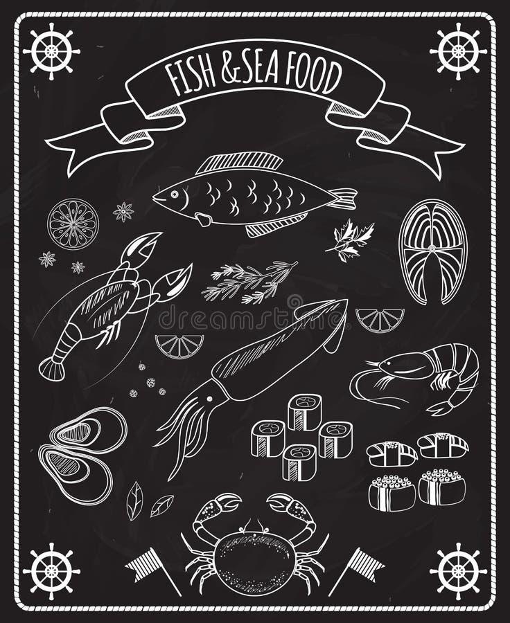 Beståndsdelar för fisk- och skaldjursvart tavlavektor royaltyfri illustrationer