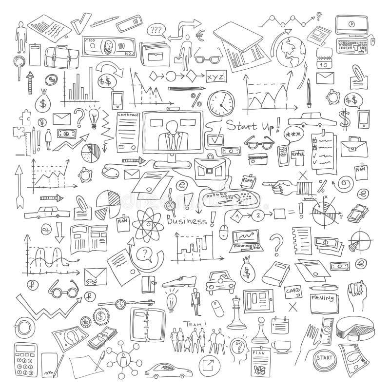 Beståndsdelar för handattraktionklotter Graf för affärsfinansdiagram stock illustrationer