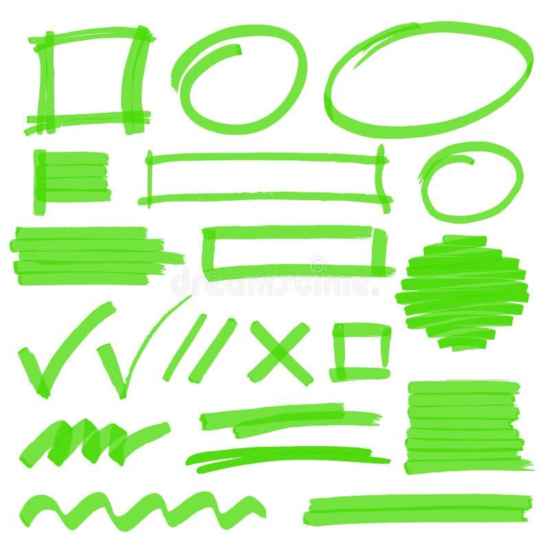 Beståndsdelar för Highlightermarkeringsdesign vektor illustrationer
