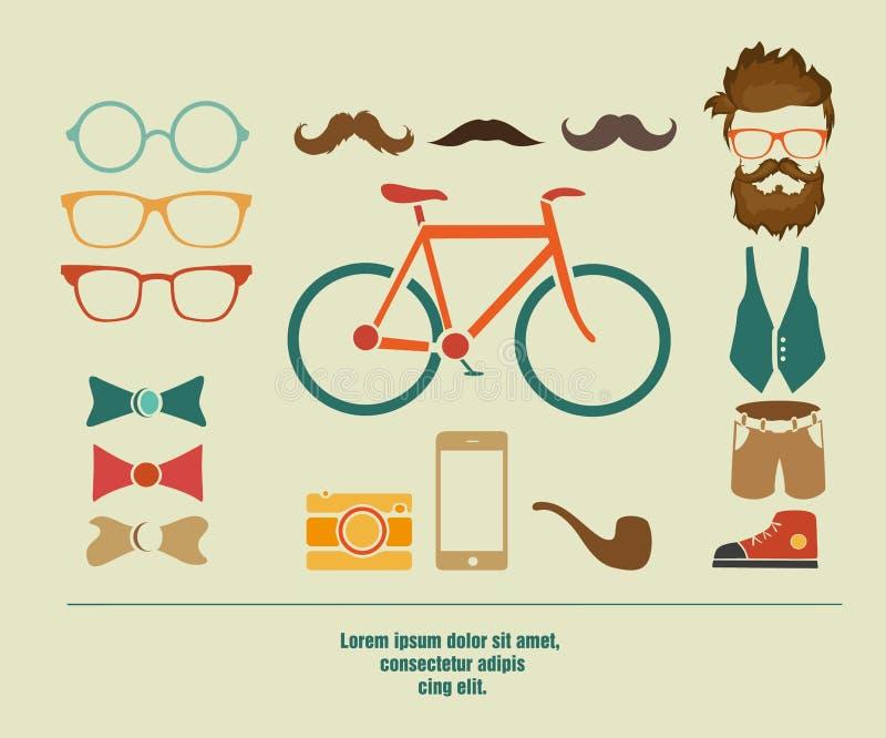 Beståndsdelar för hipster för information om Hipster grafiska vektor illustrationer