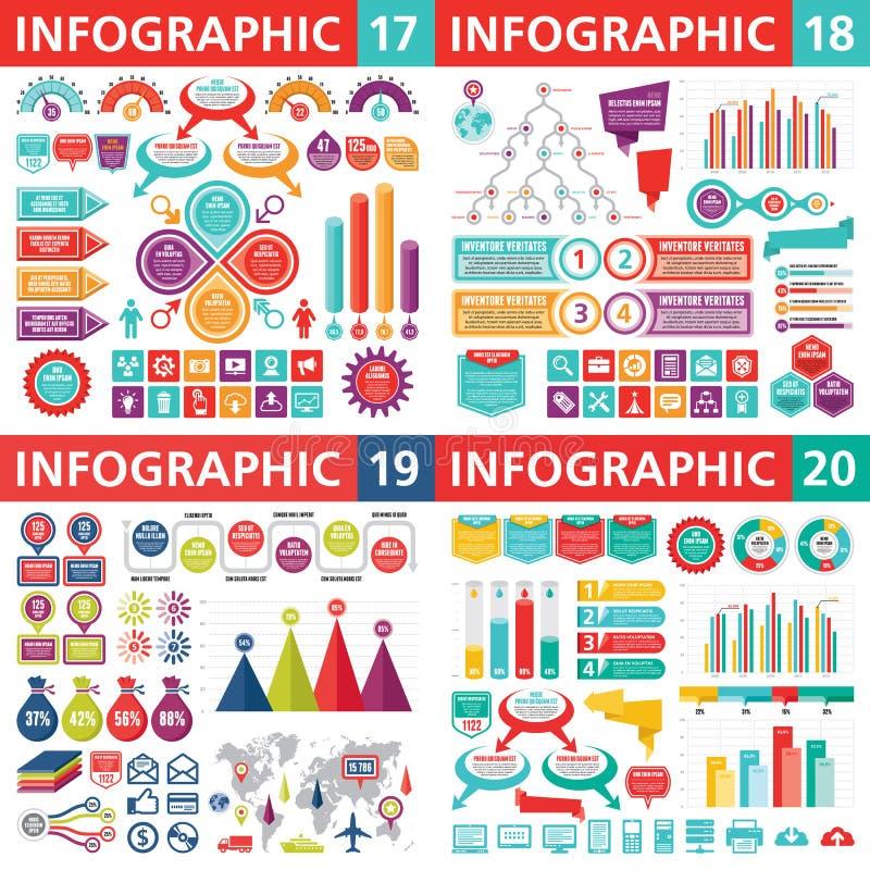 Beståndsdelar för Infographic affärsdesign - vektorillustration Infograph mallsamling idérikt diagram vektor illustrationer