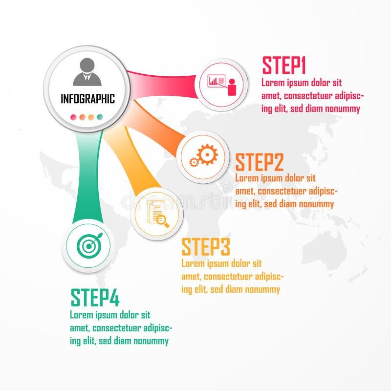 Beståndsdelar för infographic vektor Designbegrepp med 4 alternativ, delar, moment eller processar, mall för diagrammet, diagram, royaltyfri illustrationer