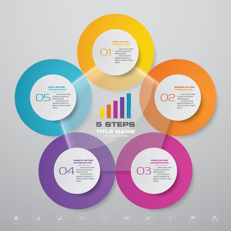 5 beståndsdelar för infographics för diagram för halv cirkulering för moment för datapresentation royaltyfria bilder