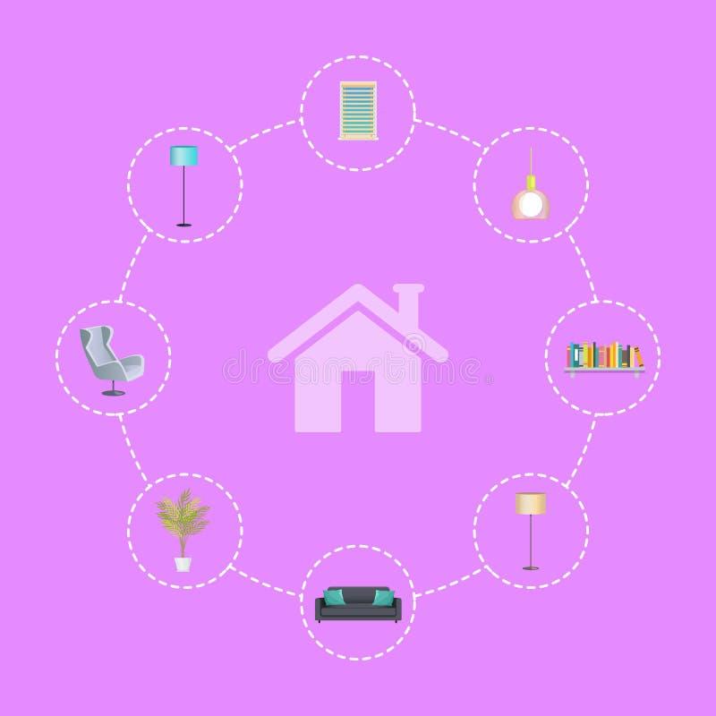 Beståndsdelar för inredesign i cirklar runt om hus royaltyfri illustrationer