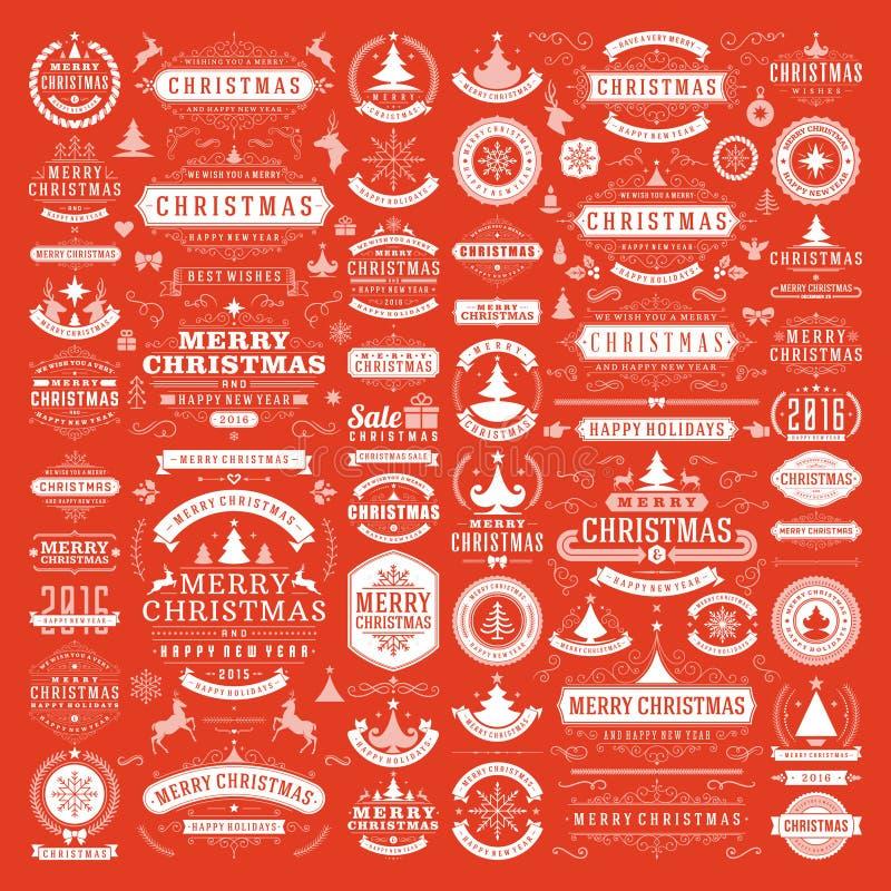 Beståndsdelar för julpyntvektordesign vektor illustrationer