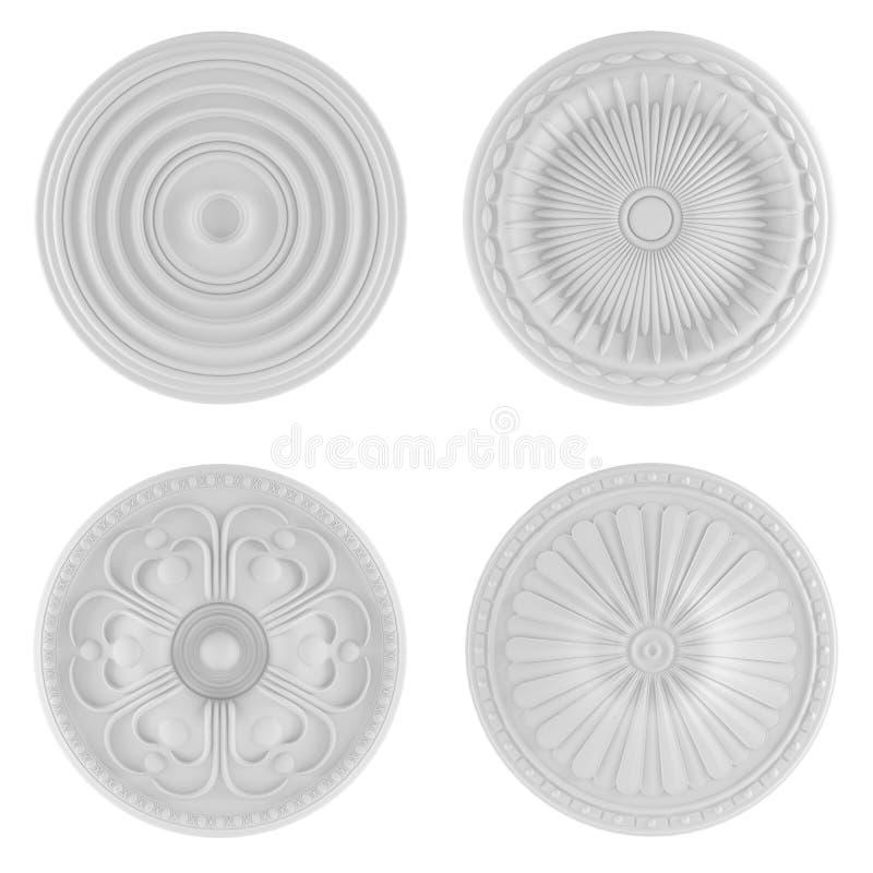 Beståndsdelar för klassisk arkitektur. Takplattor vektor illustrationer
