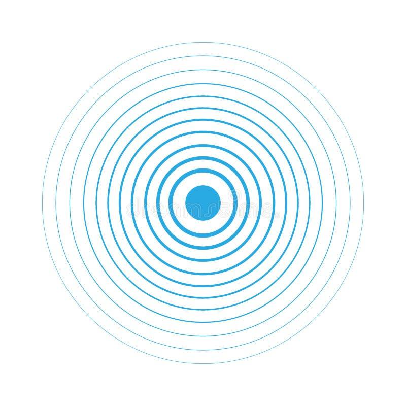 Beståndsdelar för koncentrisk cirkel för radarskärm Vektorillustration för solid våg  Cirkelsnurrandemål radio vektor illustrationer