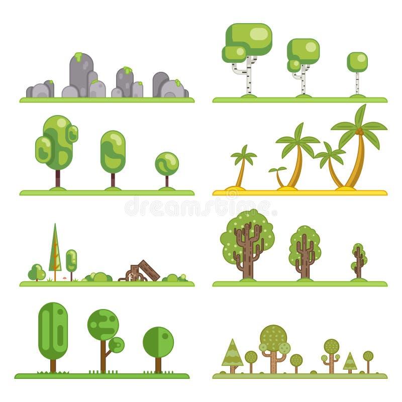 Beståndsdelar för konstruktion för landskap för natur för skog för mobila symboler för modigt träd sänker fastställda illustratio stock illustrationer