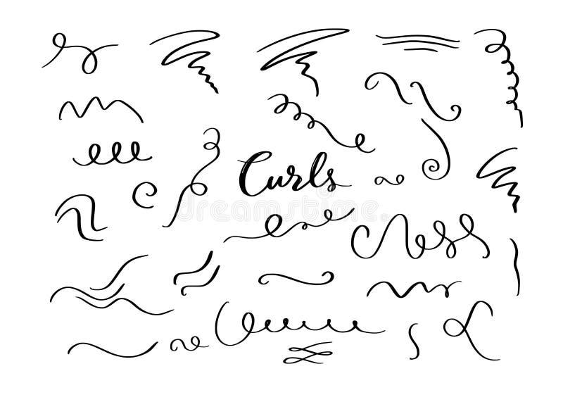 Beståndsdelar för krullning för vektorhand utdragna dekorativa, virvlar, krusidullar och textkalligrafiavdelare vektor illustrationer