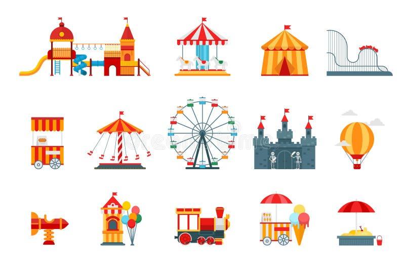 Beståndsdelar för nöjesfältvektorlägenhet, roliga symboler, på vit bakgrund med ferrishjulet, slott, dragningar stock illustrationer