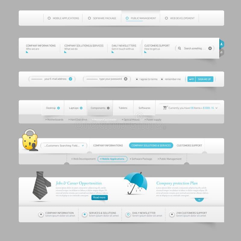 Beståndsdelar för navigering för mall för rengöringsdukdesign med symboler stock illustrationer