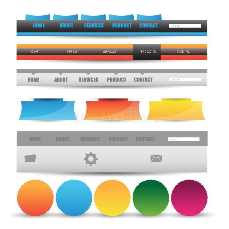 Beståndsdelar för navigering för mall för rengöringsdukdesign: Navigeringknappar med prydnader royaltyfri illustrationer