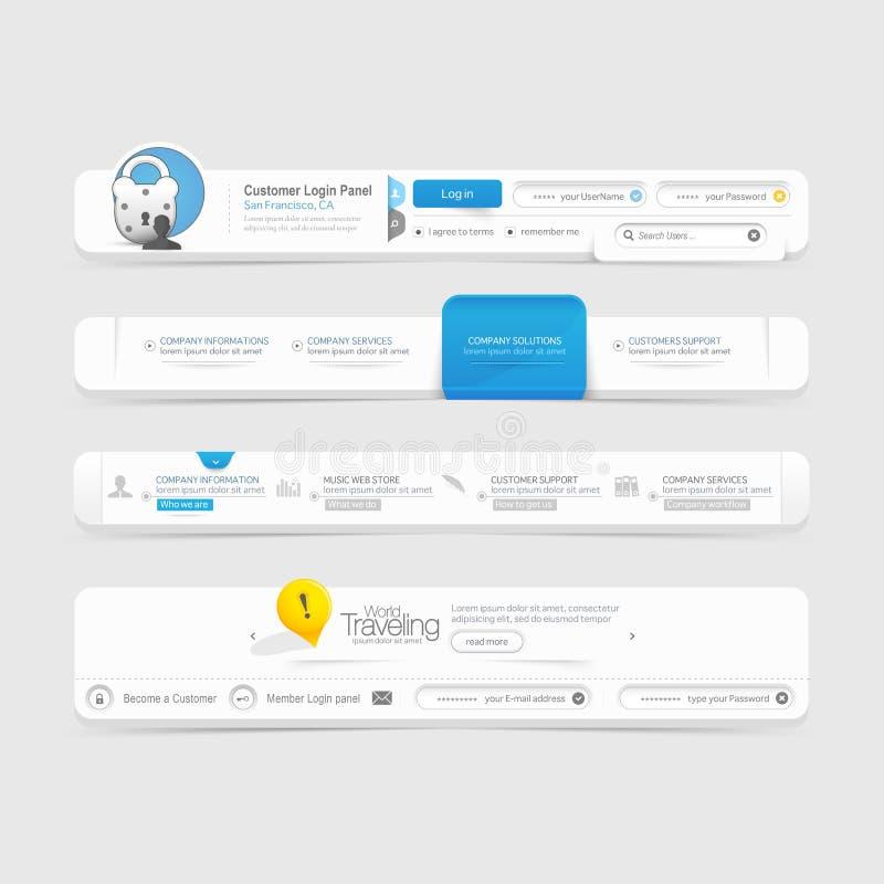 Beståndsdelar för navigering för meny för Websitemalldesign med symboler vektor illustrationer